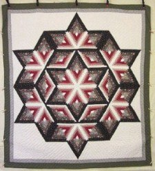 Custom Amish Quilts - Completed Fan Star Grey Burgundy Tan