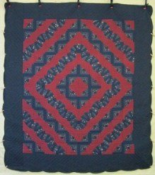 Custom Amish Quilts - Log Cabin Fan Navy Merlot Patchwork
