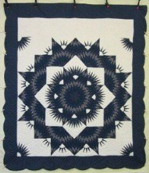 Custom Amish Quilts - Starburst Pulsating Navy Patchwork