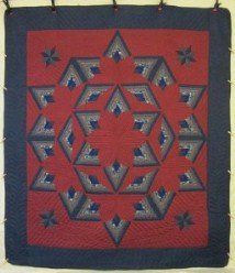 Custom Amish Quilts - Log Cabin Fan Star Patchwork Blue Navy Red