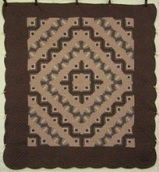 Custom Amish Quilts - Log Cabin Fan Brown Chocolate Patchwork
