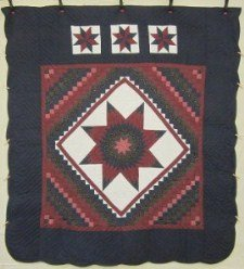 Custom Amish Quilts - Lone Star in Common Blue Merlot Patchwork