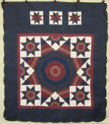Custom Amish Quilts - Star Galaxy Patchwork Navy Burgundy