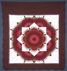 Custom Amish Quilts - Broken Mariners Compass Star Burgundy Red