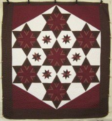 Custom Amish Quilts - Fan Star Galaxy Brown Merlot Patchwork