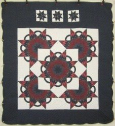Custom Amish Quilts - Starburst in Starburst Patchwork Navy Burgundy