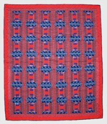 Custom Amish Quilts - Courtyard Steps Quilting Bee Red Blue Patchwork