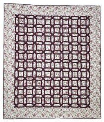 Custom Amish Quilts - Garden Trellis Rose Burgundy Patchwork