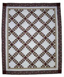 Custom Amish Quilts - Double Irish Chain Patchwork Tan Burgundy