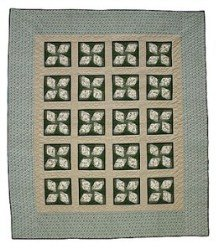 Custom Amish Quilts - Clover Patchwork Green