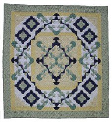 Custom Amish Quilts - Magical Carpet Patchwork Yellow Blue Green