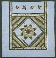 Custom Amish Quilts - Framed Lone Star Commons Gold Wheat Green Patchwork Certified