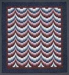 Custom Amish Quilts - Escalating Patchwork Navy Burgundy