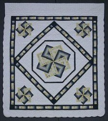 Custom Amish Quilts - Spinning Star Spin Patchwork Certified Navy Blue Yellow
