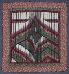 Custom Amish Quilts - Bargello Patchwork Burgundy Green Certified