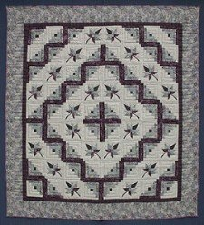 Custom Amish Quilts - Log Cabin Splendor Sage Burgundy Patchwork