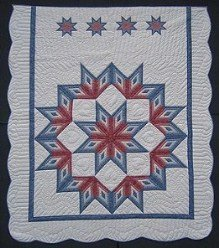 Custom Amish Quilts - Framed Log Cabin Fan Star in Star Blue Rose Patchwork Certified