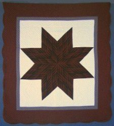 Custom Amish Quilts - Eight Pointed Lone Star Brown Rust