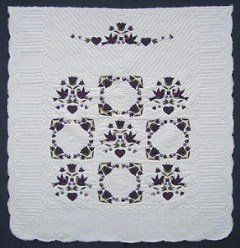 Custom Amish Quilts - Country Bride Applique Purple Heart
