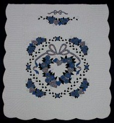 Custom Amish Quilts - Country Rose Wreath Blue Applique
