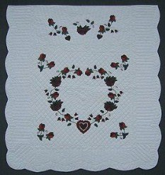 Custom Amish Quilts - Heart Roses Burgundy Applique