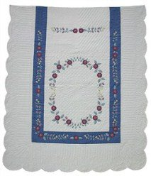 Custom Amish Quilts - Emmas Wreath Applique Blue Certified