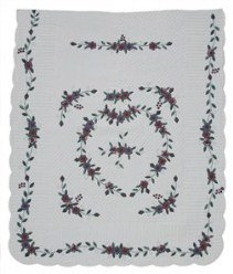 Custom Amish Quilts - Heart Flowers Applique Burgundy Green