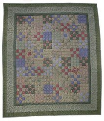 Custom Amish Quilts - Improved Nine Patch Patchwork Green Certified