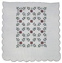 Custom Amish Quilts - Country Flower Applique Green Burgundy