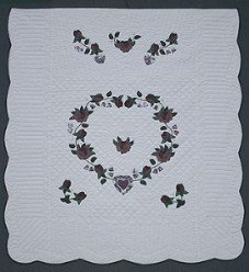 Custom Amish Quilts - Heart Roses Applique