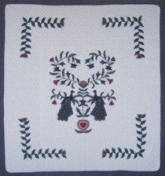 Custom Amish Quilts - Peacock Dutch Tree Applique Green Navy