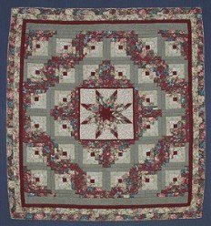 Custom Amish Quilts - Star in Log Cabin Red Green Sage Patchwork
