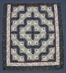 Custom Amish Quilts - Log Cabin Patchwork Grey Burgundy Certified
