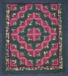Custom Amish Quilts - Log Cabin Patchwork Red Rose Green