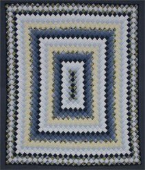 Custom Amish Quilts - Boston Commons Blue Yellow Patchwork