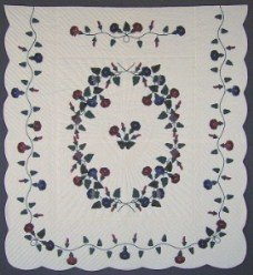 Custom Amish Quilts - Morning Glory Applique Navy Burgundy