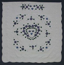 Custom Amish Quilts - Country Flower Wreath Applique Blue Purple