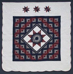 Custom Amish Quilts - Lone Star in Log Cabin Steps Navy Burgundy