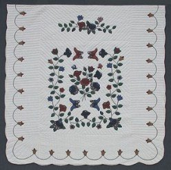 Custom Amish Quilts - Butterfly Flower Garden Burgundy Navy Applique