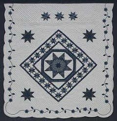Custom Amish Quilts - Framed Star Stars Patchwork Flower Border
