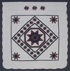 Custom Amish Quilts - Lone Star in Star Frame Merlot Navy Patchwork
