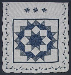 Custom Amish Quilts - Broken Lone Star Flower Border Patchwork Blue