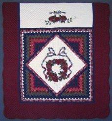 Custom Amish Quilts - Trip Around Rose Wreath Patchwork Applique Navy Burgundy