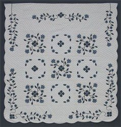 Custom Amish Quilts - Spring Flower Border Applique Blue