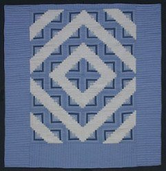 Custom Amish Quilts - Sky Blue Log Cabin Patchwork