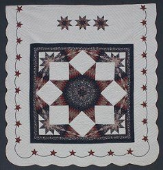 Custom Amish Quilts - Framed Lone Star Starburst Border Merlot Navy