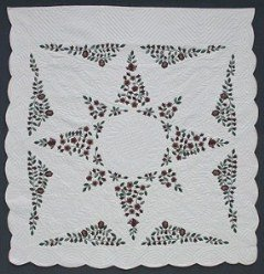 Custom Amish Quilts - Christmas Flower Star Applique Burgundy Green