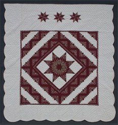 Custom Amish Quilts - Red Lone Star Log Cabin Patchwork