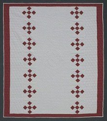 Custom Amish Quilts - Red White Nine Patch Patchwork