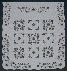 Custom Amish Quilts - Spring Flower Black Grey Applique